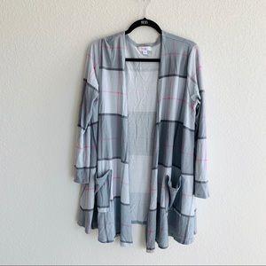Lularoe Caroline gray plaid cardigan size Large L